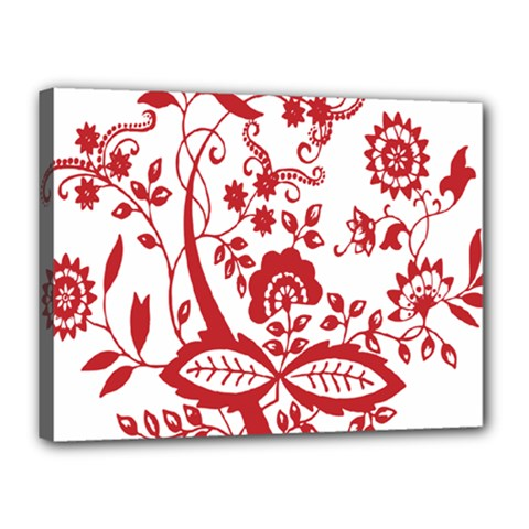 Red Vintage Floral Flowers Decorative Pattern Clipart Canvas 16  X 12  by Simbadda