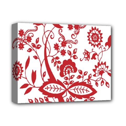 Red Vintage Floral Flowers Decorative Pattern Clipart Deluxe Canvas 14  X 11  by Simbadda