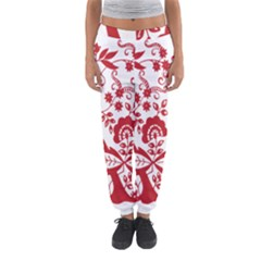 Red Vintage Floral Flowers Decorative Pattern Clipart Women s Jogger Sweatpants by Simbadda