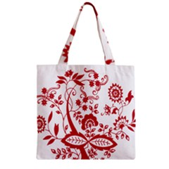 Red Vintage Floral Flowers Decorative Pattern Clipart Zipper Grocery Tote Bag by Simbadda