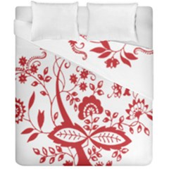 Red Vintage Floral Flowers Decorative Pattern Clipart Duvet Cover Double Side (california King Size) by Simbadda