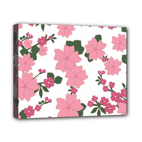 Vintage Floral Wallpaper Background In Shades Of Pink Canvas 10  X 8  by Simbadda