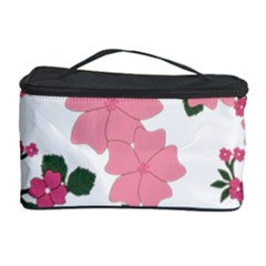 Vintage Floral Wallpaper Background In Shades Of Pink Cosmetic Storage Case by Simbadda