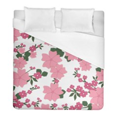 Vintage Floral Wallpaper Background In Shades Of Pink Duvet Cover (full/ Double Size) by Simbadda