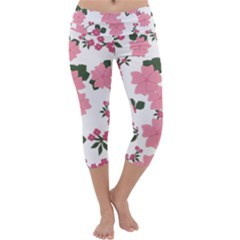 Vintage Floral Wallpaper Background In Shades Of Pink Capri Yoga Leggings by Simbadda