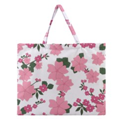 Vintage Floral Wallpaper Background In Shades Of Pink Zipper Large Tote Bag by Simbadda
