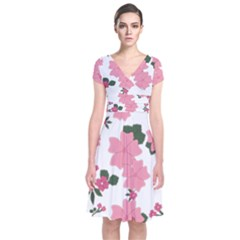 Vintage Floral Wallpaper Background In Shades Of Pink Short Sleeve Front Wrap Dress by Simbadda