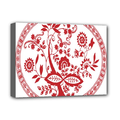 Red Vintage Floral Flowers Decorative Pattern Deluxe Canvas 16  X 12   by Simbadda