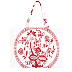 Red Vintage Floral Flowers Decorative Pattern Zipper Large Tote Bag by Simbadda