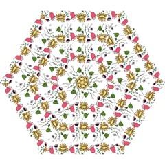 Handmade Pattern With Crazy Flowers Mini Folding Umbrellas by Simbadda