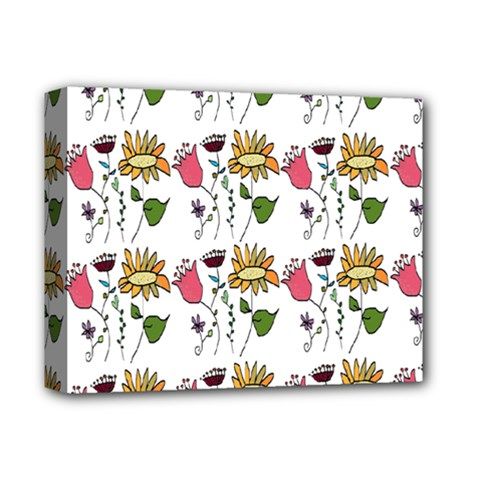 Handmade Pattern With Crazy Flowers Deluxe Canvas 14  X 11  by Simbadda
