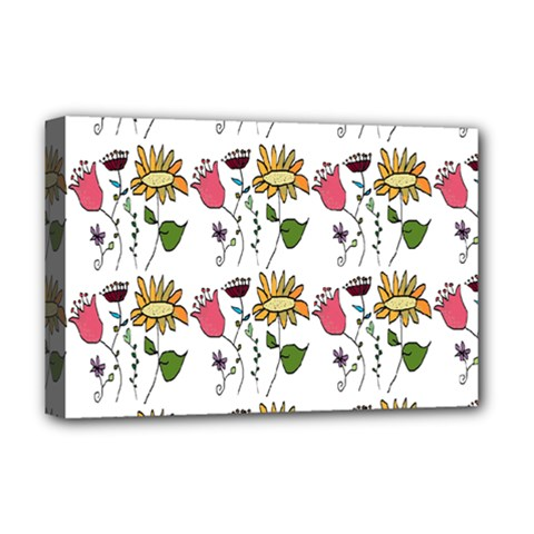 Handmade Pattern With Crazy Flowers Deluxe Canvas 18  X 12   by Simbadda
