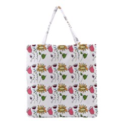 Handmade Pattern With Crazy Flowers Grocery Tote Bag by Simbadda