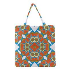 Digital Computer Graphic Geometric Kaleidoscope Grocery Tote Bag by Simbadda