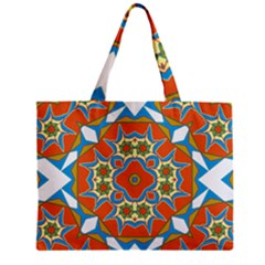 Digital Computer Graphic Geometric Kaleidoscope Zipper Mini Tote Bag by Simbadda