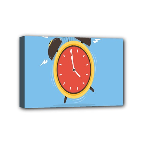 Alarm Clock Weker Time Red Blue Mini Canvas 6  X 4  by Alisyart
