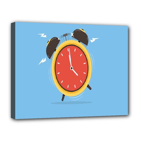 Alarm Clock Weker Time Red Blue Canvas 14  X 11  by Alisyart