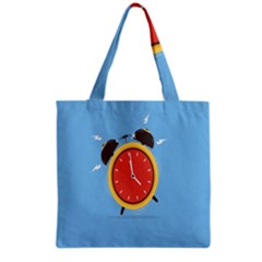 Alarm Clock Weker Time Red Blue Grocery Tote Bag by Alisyart