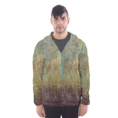 Aqua Textured Abstract Hooded Wind Breaker (men) by theunrulyartist