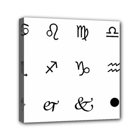 Set Of Black Web Dings On White Background Abstract Symbols Mini Canvas 6  X 6  by Amaryn4rt