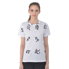 Set Of Black Web Dings On White Background Abstract Symbols Women s Cotton Tee by Amaryn4rt