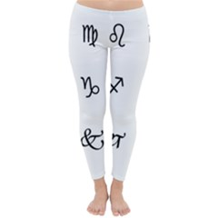 Set Of Black Web Dings On White Background Abstract Symbols Classic Winter Leggings by Amaryn4rt