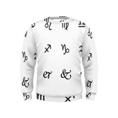 Set Of Black Web Dings On White Background Abstract Symbols Kids  Sweatshirt by Amaryn4rt