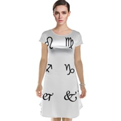 Set Of Black Web Dings On White Background Abstract Symbols Cap Sleeve Nightdress by Amaryn4rt