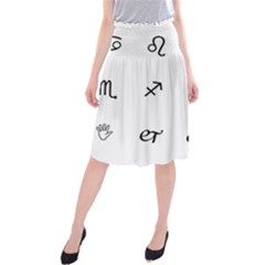 Set Of Black Web Dings On White Background Abstract Symbols Midi Beach Skirt by Amaryn4rt