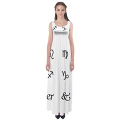 Set Of Black Web Dings On White Background Abstract Symbols Empire Waist Maxi Dress by Amaryn4rt