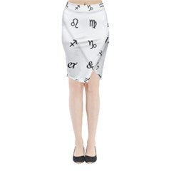 Set Of Black Web Dings On White Background Abstract Symbols Midi Wrap Pencil Skirt by Amaryn4rt