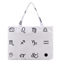 Set Of Black Web Dings On White Background Abstract Symbols Medium Zipper Tote Bag by Amaryn4rt
