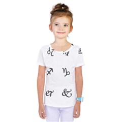 Set Of Black Web Dings On White Background Abstract Symbols Kids  One Piece Tee by Amaryn4rt