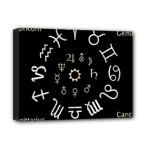 Astrology Chart With Signs And Symbols From The Zodiac Gold Colors Deluxe Canvas 16  X 12   by Amaryn4rt
