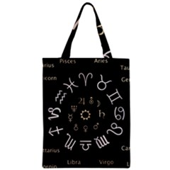 Astrology Chart With Signs And Symbols From The Zodiac Gold Colors Zipper Classic Tote Bag by Amaryn4rt