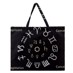 Astrology Chart With Signs And Symbols From The Zodiac Gold Colors Zipper Large Tote Bag by Amaryn4rt