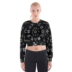 Astrology Chart With Signs And Symbols From The Zodiac Gold Colors Women s Cropped Sweatshirt by Amaryn4rt