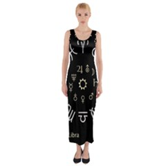 Astrology Chart With Signs And Symbols From The Zodiac Gold Colors Fitted Maxi Dress by Amaryn4rt