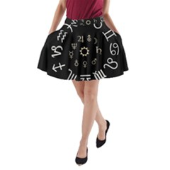 Astrology Chart With Signs And Symbols From The Zodiac Gold Colors A Line Pocket Skirt by Amaryn4rt