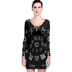 Astrology Chart With Signs And Symbols From The Zodiac Gold Colors Long Sleeve Velvet Bodycon Dress by Amaryn4rt
