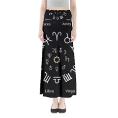 Astrology Chart With Signs And Symbols From The Zodiac Gold Colors Maxi Skirts by Amaryn4rt