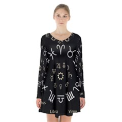 Astrology Chart With Signs And Symbols From The Zodiac Gold Colors Long Sleeve Velvet V Neck Dress by Amaryn4rt