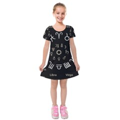 Astrology Chart With Signs And Symbols From The Zodiac Gold Colors Kids  Short Sleeve Velvet Dress by Amaryn4rt
