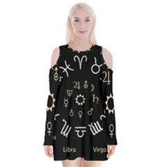 Astrology Chart With Signs And Symbols From The Zodiac Gold Colors Velvet Long Sleeve Shoulder Cutout Dress by Amaryn4rt
