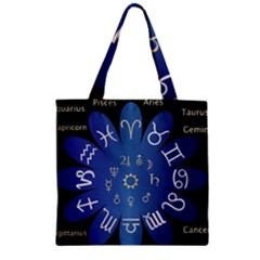 Astrology Birth Signs Chart Zipper Grocery Tote Bag by Amaryn4rt