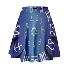 Astrology Birth Signs Chart High Waist Skirt by Amaryn4rt