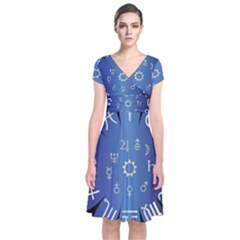 Astrology Birth Signs Chart Short Sleeve Front Wrap Dress by Amaryn4rt