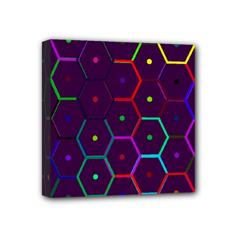 Color Bee Hive Pattern Mini Canvas 4  X 4  by Amaryn4rt