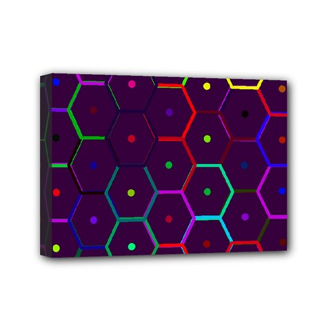 Color Bee Hive Pattern Mini Canvas 7  X 5  by Amaryn4rt
