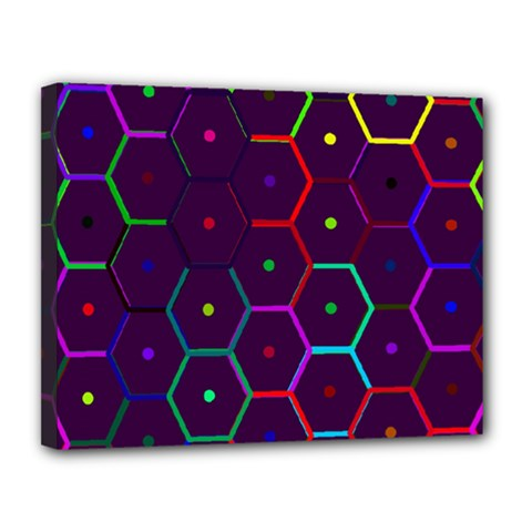 Color Bee Hive Pattern Canvas 14  X 11  by Amaryn4rt